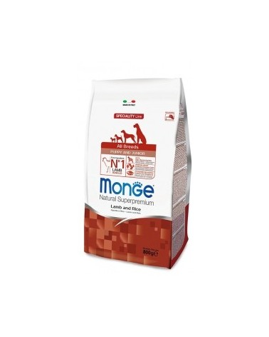 Monge Dog Natural All Breeds Puppy & Junior Agnello e Riso 800g